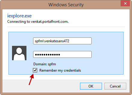Saving SharePoint Username and Password Credentials in